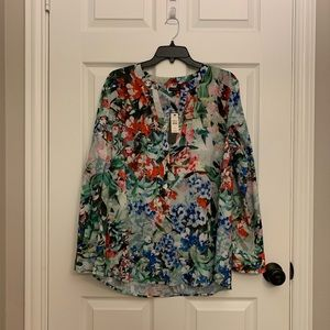 Talbots floral split neck dressy blouse